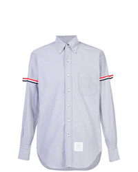 Thom Browne Long Sleeve Shirt With Armbands In Navy Oxford