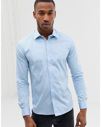 AVAIL London Muscle Fit Shirt In Light Blue