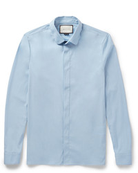 Gucci Slim Fit Penny Collar Cotton Blend Poplin Shirt
