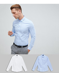 ASOS DESIGN Slim Shirt 2 Pack In White And Blue Save