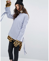 STYLE NANDA Stylenanda Long Sleeve Top With Tie Up Sleeves