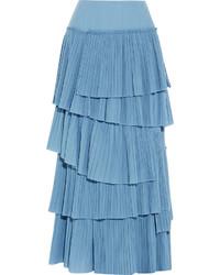 Sonia Rykiel Tiered Pliss Cotton Maxi Skirt Blue