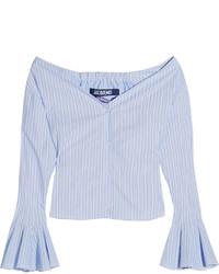 Jacquemus Off The Shoulder Striped Cotton Poplin Top Blue
