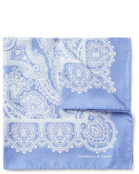 Light Blue Paisley Silk Pocket Square