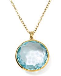 Ippolita 18k Gold Rock Candy Lollipop Pendant Necklace Lt Blue Topaz
