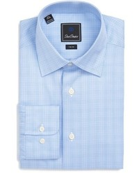 David Donahue Big Tall Trim Fit Glen Plaid Dress Shirt