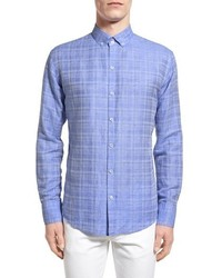 Zachary Prell Tobias Trim Fit Plaid Linen Sport Shirt