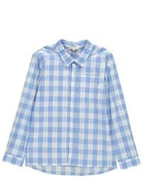 Light Blue Plaid Long Sleeve Shirt