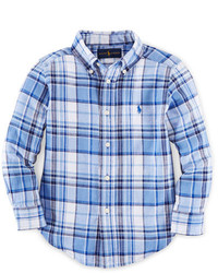 Ralph Lauren Childrenswear Long Sleeve Plaid Linen Blend Shirt Blue Size 2 7