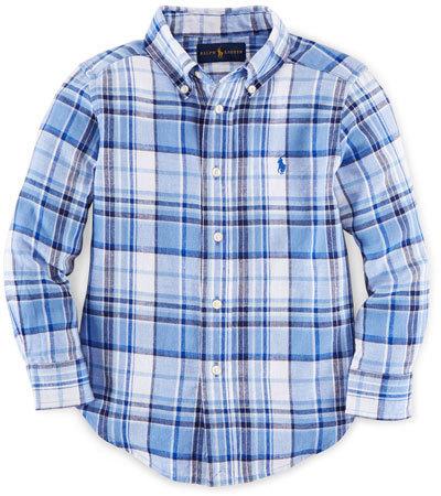 Ralph Lauren Childrenswear Long Sleeve Plaid Linen Blend Shirt Blue Size 2 7