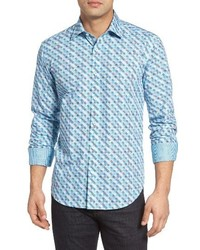 Shaped fit graphic check sport shirt medium 1161816