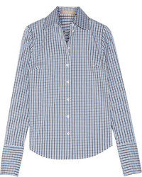 Michael Kors Michl Kors Collection Checked Cotton Blend Poplin Shirt Blue