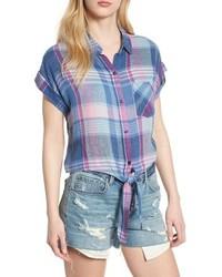 Light Blue Plaid Short Sleeve Button Down Shirt
