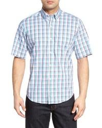 Light Blue Plaid Short Sleeve Shirt