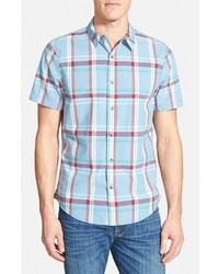 1901 Edmonds Trim Fit Short Sleeve Plaid Poplin Shirt