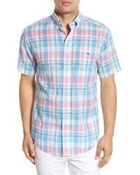 Vineyard Vines Chipping Tucker Slim Fit Short Sleeve Plaid Sport Shirt