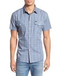 Brixton Memphis Trim Fit Plaid Short Sleeve Woven Shirt