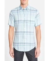 Brooks Brothers Regent Fit Short Sleeve Plaid Oxford Linen Sport Shirt