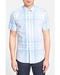 Vince Camuto Slim Fit Plaid Short Sleeve Sport Shirt