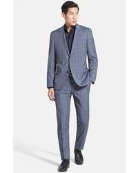 BOSS HUGO BOSS Hugegenius Trim Fit Plaid Suit Grey Blue Plaid 40l