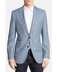 Light Blue Plaid Wool Blazer