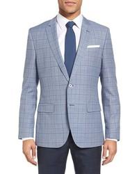 Hutsons trim fit plaid wool cotton sport coat medium 1044086