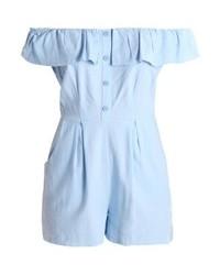 New Look Bardot Button Through Jumpsuit Light Blue