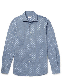 Incotex Slim Fit Polka Dot Slub Cotton Shirt
