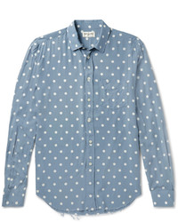 Saint Laurent Distressed Polka Dot Voile Shirt