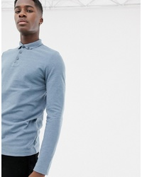 ASOS DESIGN Long Sleeve Polo In Pique With Collar In Blue