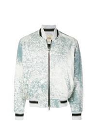 Light Blue Print Bomber Jacket