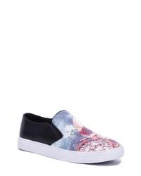 Light Blue Print Canvas Slip-on Sneakers