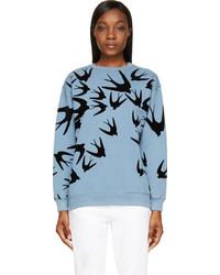 Light Blue Print Crew-neck Sweater
