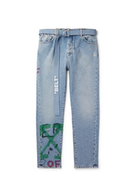 Off-White Slim Fit Tapered Belted Spray Painted Denim Jeans