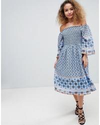 En Creme Off Shoulder Border Print Midi Dress