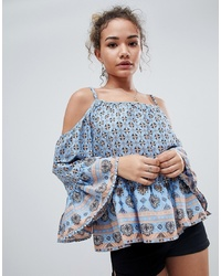 En Creme Cold Shoulder Border Print Top With Ruffle