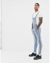 Liquor N Poker Dungarees With Side Taping In Stonewash