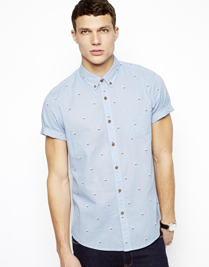Asos Shirt In Short Sleeve With Tile Geo Print Blue | Where to buy & how to  wear