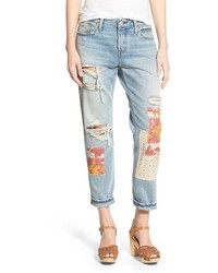 Levi's 501 Ct Ripped Repaired Boyfriend Jeans