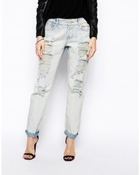 Asos Brady Low Rise Slim Boyfriend Jeans In Bleach Wash With Extreme Rips