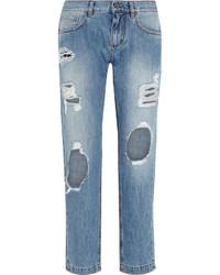 Dolce & Gabbana Distressed Mid Rise Slim Boyfriend Jeans Light Denim