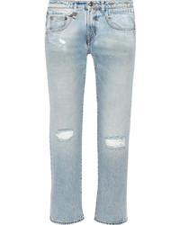 R 13 R13 Cropped Distressed Mid Rise Boyfriend Jeans Light Denim