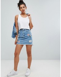 Chorus Embroidery Distressed Denim Skirt