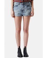 Topshop Moto Hallie Acid Wash Denim Shorts