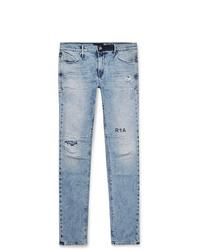 RtA 1 Skinny Fit Printed Distressed Stretch Denim Jeans
