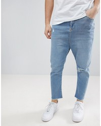 ASOS DESIGN Asos Drop Crotch Jeans In Light Wash Blue With Rips