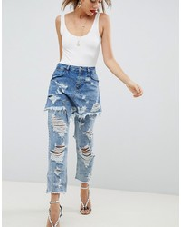 ASOS DESIGN Asos Florence Authentic Striaght Leg Jeans With Rips And Skirt Overlay