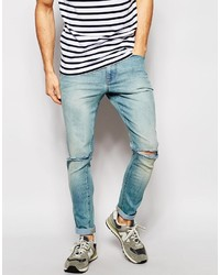 Men's Light Blue Ripped Jeans by Asos | Men's Fashion