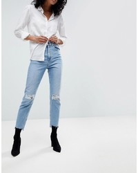 ASOS DESIGN Farleigh High Waist Slim Mom Jeans In Light Vintage Wash With Busted Knee And Rip Repair Detail