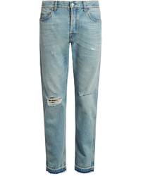 Gucci Slim Fit Cropped Distressed Jeans